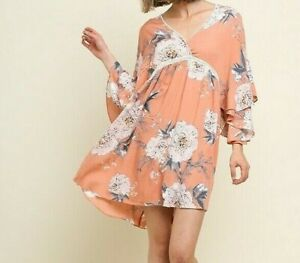 New-Bluheaven-By-Umgee-Dress-S-Small-Blush-Pink-Floral-Crochet-Ruffle-Babydoll