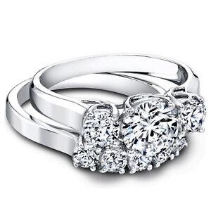 1.60 Ct Round Cut Moissanite Band Set 14K Real White Gold Wedding Ring Size 6.5
