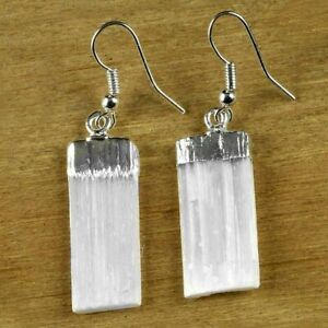 Natural-Selenite-Crystal-Earrings-Silver-Dangle-Wire-Hook-Reiki-Energy-Healing