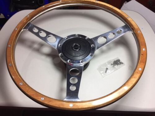 Schimitar Gte Woodrim Steering Wheel 15in Semi Dish Wheel Inc Boss9 Hole