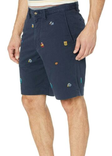 """New Polo Ralph Lauren Classic Fit 9/"""" Navy Embroidered Stretch Chino Shorts 32"""