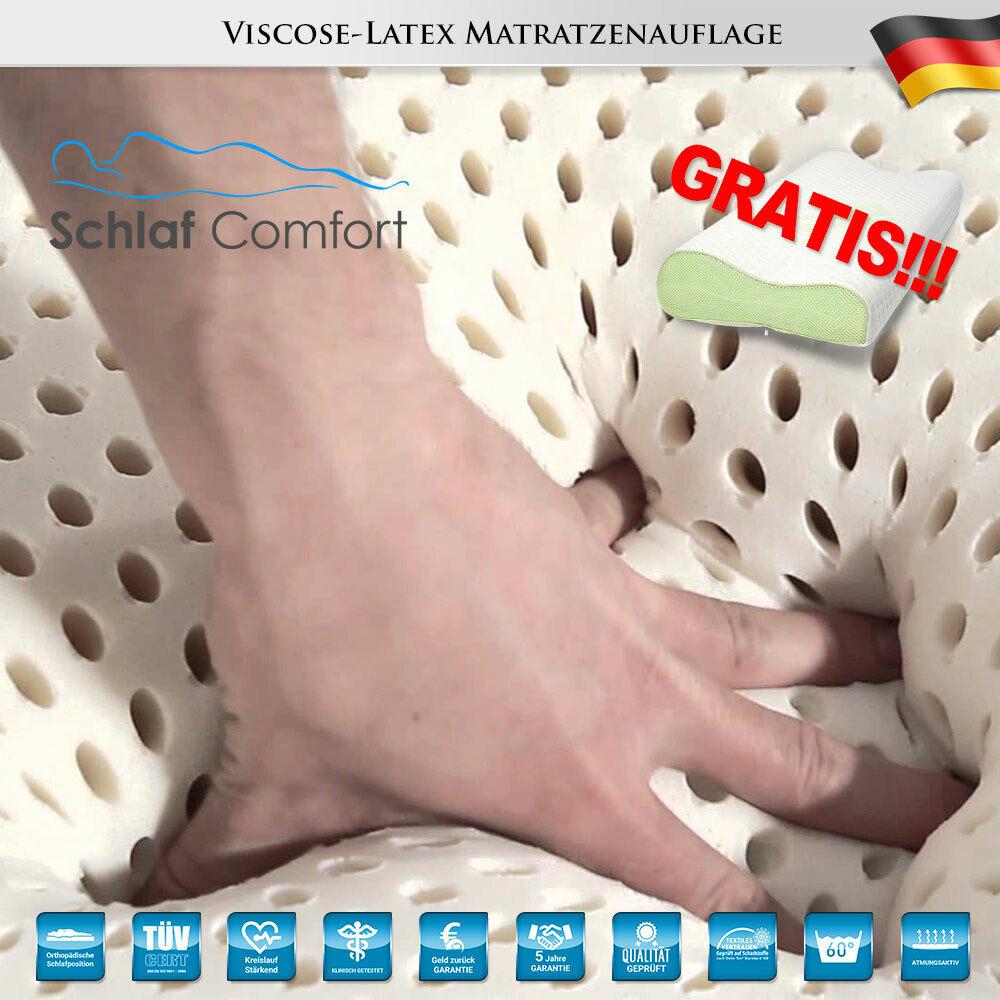 Latex-TOUCH®  Matratzenauflage  Topper 70x200x10cm +1 Gel Kissen Gratis