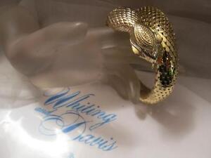 Whiting and Davis 1940s Snake Mesh Coil Bracelet with Green Peking Glass Stones Rare