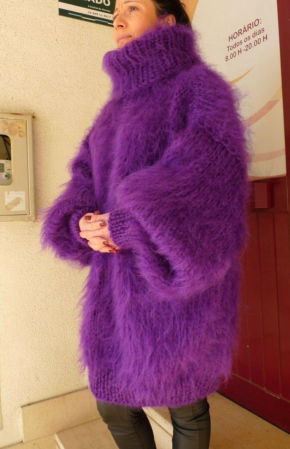Purple Hand Knitted Long hair Mohair Fuzzy Sweater    by LanaKnittings 1ec0a6