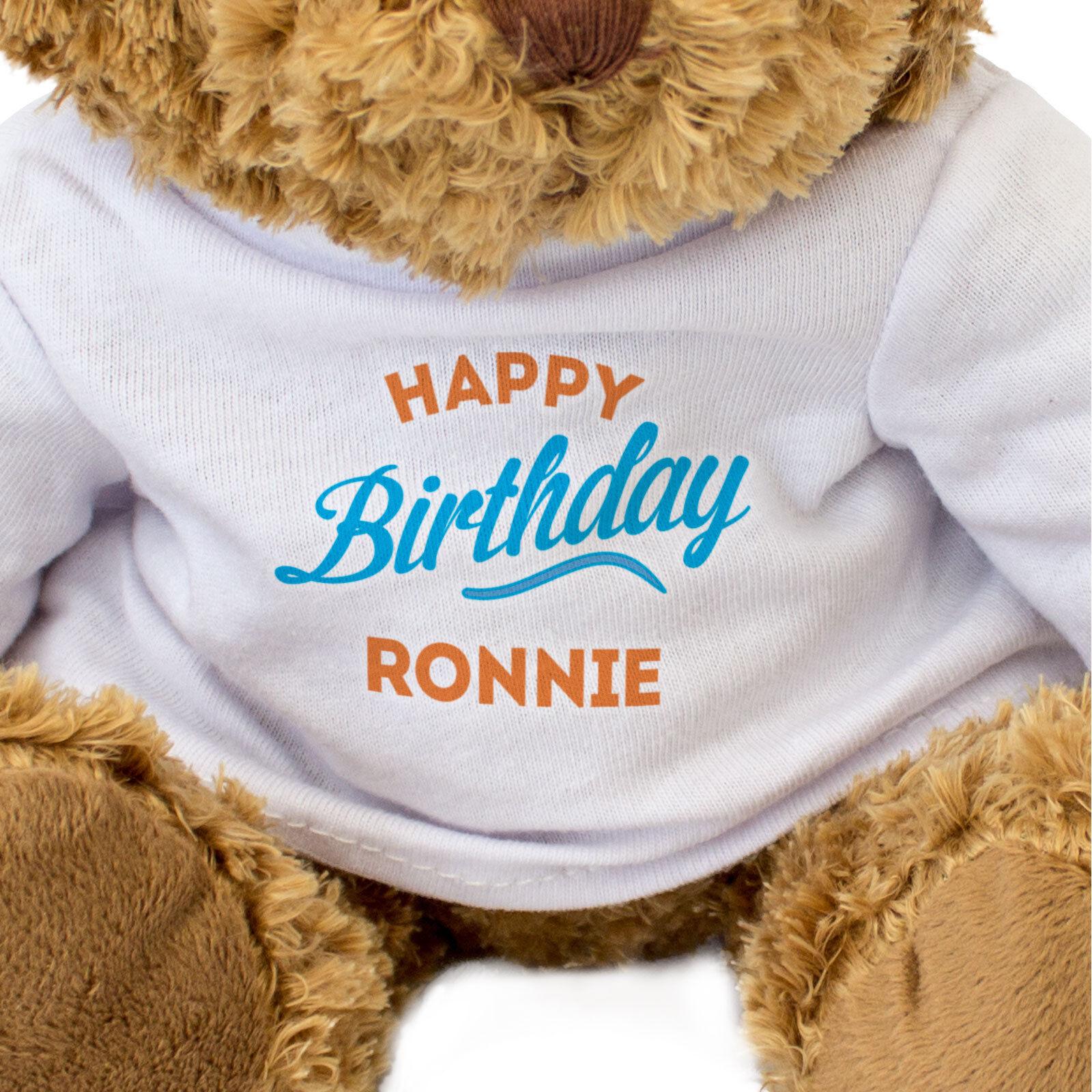 Nuevo-Feliz Cumpleaños Ronnie-Oso Ronnie-Oso Ronnie-Oso de Peluche-Regalo Lindo Suave Peluche-presente 0990cf