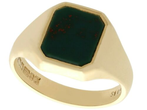 Bloodstone and 9k Yellow Gold Signet Ring - Vintag