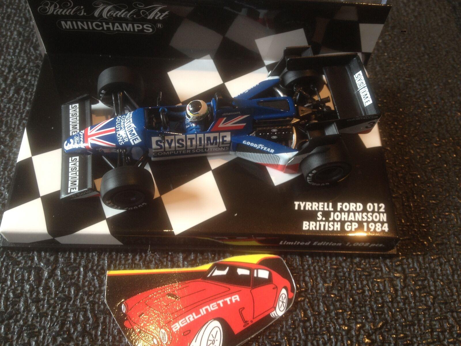 MINICHAMPS TYRRELL FORD  012 SYSTIME  3 USA BRITISH F1 GP 1984 S. JOHANSSON 1 43  bénéfice nul