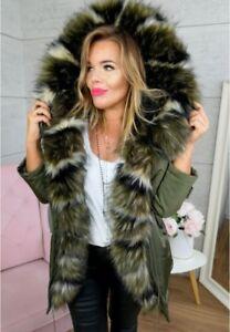 Ladies 19 Khaki Incredibile Taglia Parka Winter Coat Trim zell Jacket 8 K 2018 S tIwt4nqS
