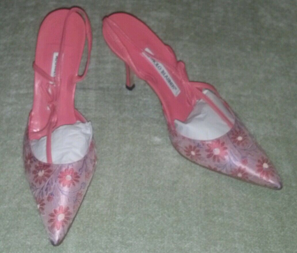NEW W BOX MANOLO BLAHNIK Pink CORAL CORAL Pink Floral Brocade Bow Slingback Shoes 6.5 36.5 4df940