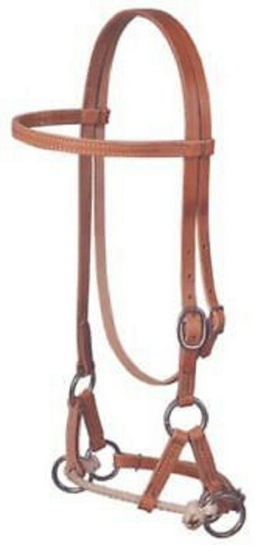 Weaver Bridle Leather Side Pull Single ROPE New Training Headstall
