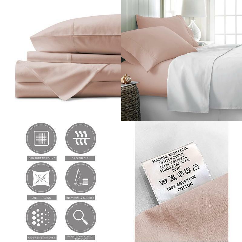 Linen 100% Egyptian Cotton Sheets Blaush Königin Sheets Set 600 Thread Count Long