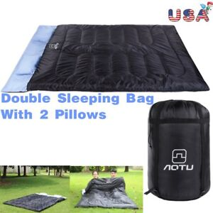 Huge-Double-Sleeping-Bag-23F-5C-2-Person-Camping-Hiking-W-2-Pillows-Hot-MP