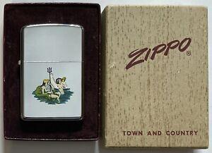 Vintage-1957-Zippo-T-amp-C-Poseidon-and-Mermaid-with-T-amp-C-Box