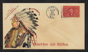 1909-Warrior-Air-Rifles-Ad-Reprint-Collector-039-s-Envelope-w-Indian-OP1170