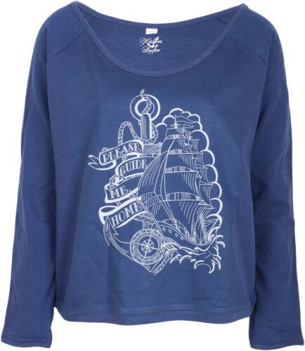 Küstenluder PLEASE GUIDE ME HOME Ship Anker Sailor PULLOVER Blau Rockabilly