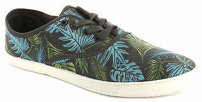 Herren Freizeit grau tropisch handflächenaufdruck Pumps Turnschuhe Schuhe in