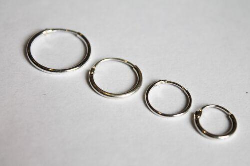 Par De Plata Esterlina 925 con bisagras Hoop Durmiente Criolla Liso Pendientes 11mm-18mm