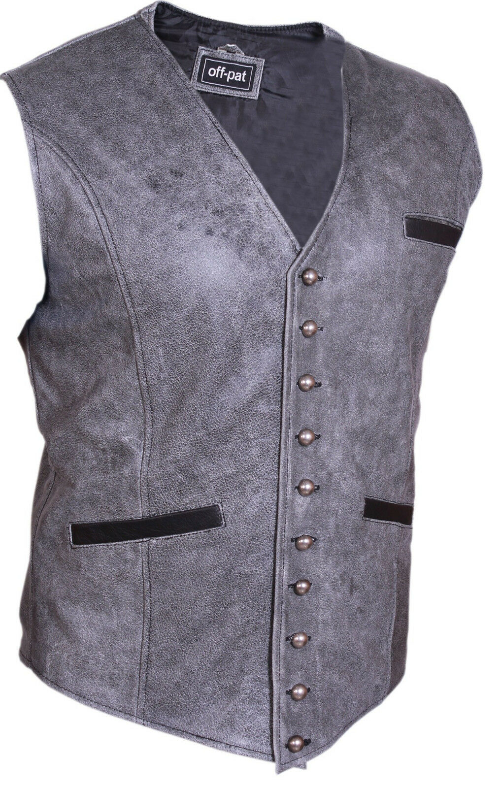 Superb Quality 100% Grey Cows Leather Biker Style Waistcoat Vest  Most Sizes