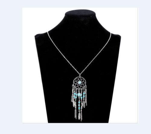Traumfänger Halskette Kette Federn Türkise Perlen Indianerschmuck Anhänger