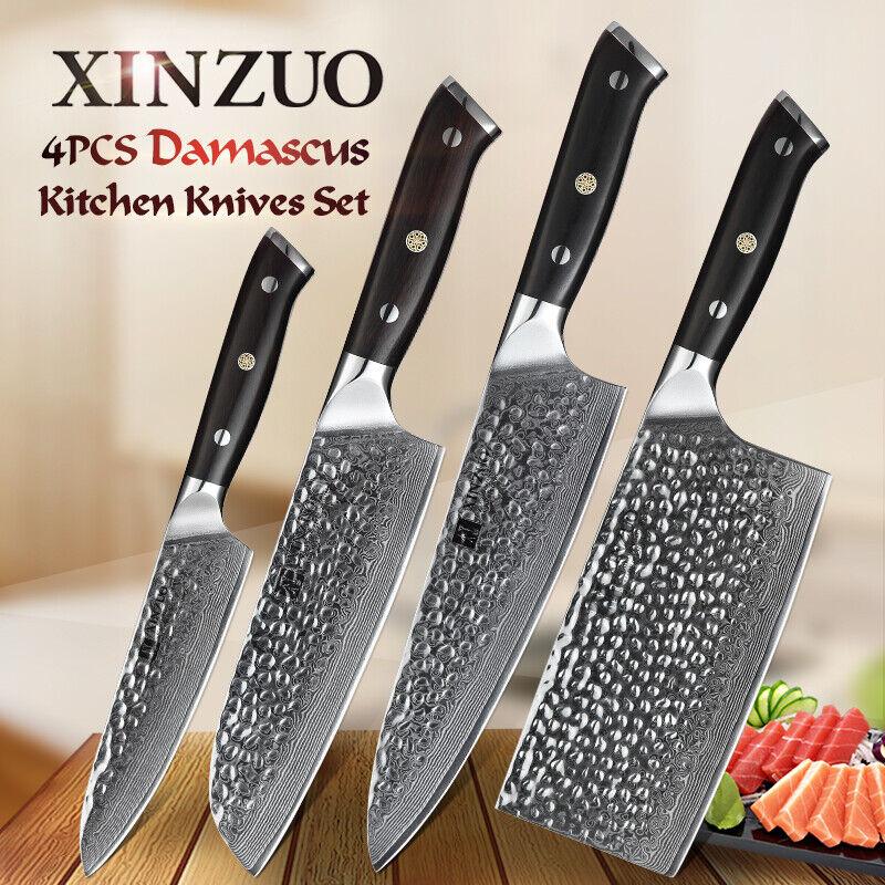 Xinzuo couteau de cuisine Jeux de 4 pc d'Acier Damas Professionnel Chef cookingcutlery