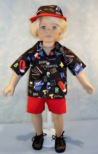 18-034-Doll-Clothes-Back-to-School-on-Black-Boys-Shirt-Shorts-amp-Hat-by-Jane-Ellen