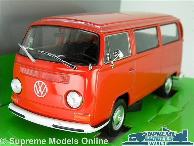 VW VOLKSWAGEN T2 CAMPER VAN BUS MODEL CAR 1 24 SCALE RED BAY WIND WELLY LARGE K8