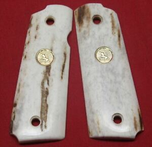Colt Firearms Full Size 1911 Government / Commander Real Stag Grips .,..,