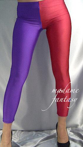 TWO TONE SHINY OPAQUE SPANDEX LEGGINGS PURPLE RED XS S M L XL XXL XXXL