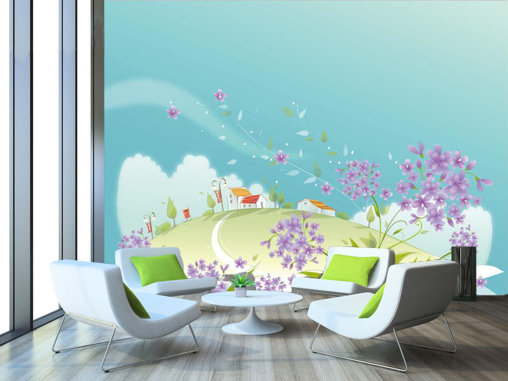 3D lila Flower Cartoon 7091 Wall Paper Wall Print Decal Wall AJ WALLPAPER CA