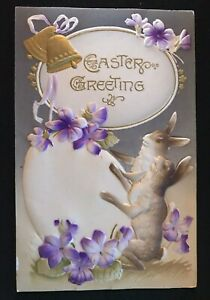 Bunny-Rabbits-with-Egg-amp-Flowers-Antique-Airbrushed-Easter-Postcard-s-34