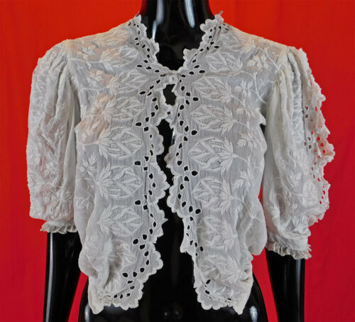 Vintage Edwardian Embroidered Eyelet Cutwork White