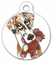 Great Dane Teddy Bear - Custom Personalized Pet Id Tag For Dog And Cat Collars