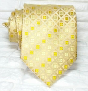Cravatta Uomo Oro Geometrica 100% Seta Made In Italy Jacquard Business
