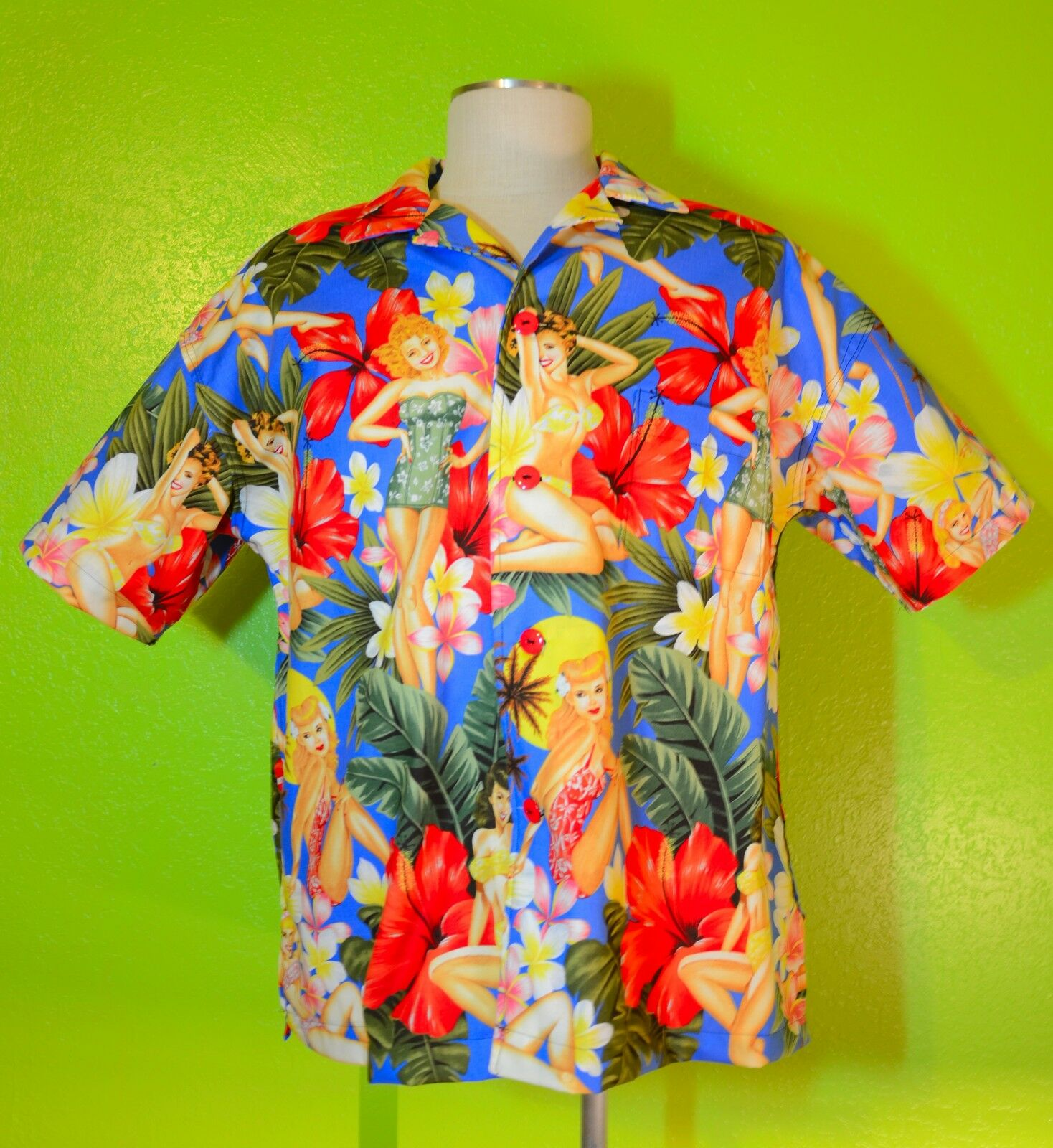 Island Girls  SOMETHING FISHY Handmade Shirt, 2XL, Hawaiian, Tropical, Cotton