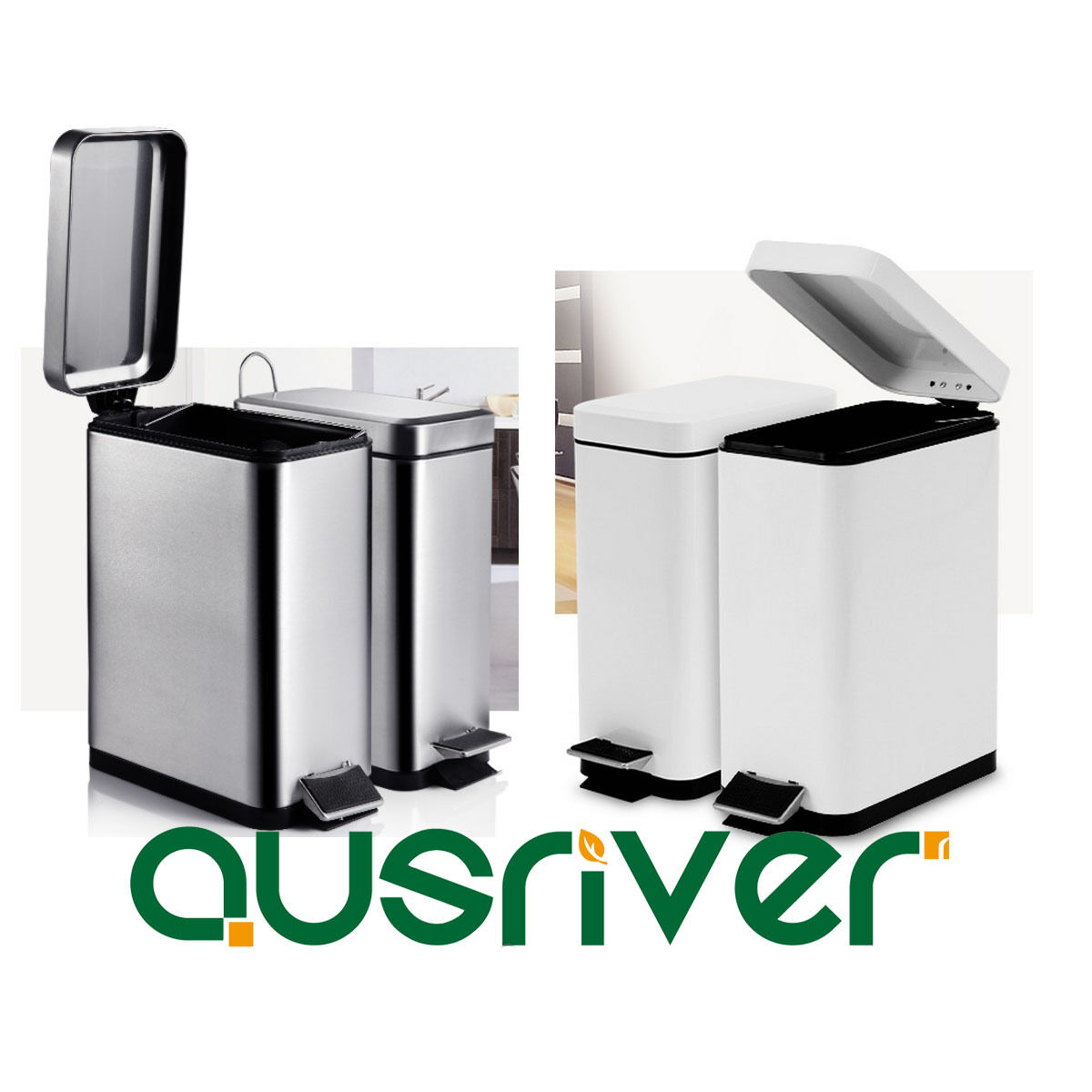 10L Pedal Stainless Steel Rubbish Bin Home Kitchen Garbage Waste Trash Can