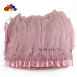 2-Metre-lot-colore-rose-pale-Oie-Plumes-Ruban-15-18-cm-Plume-De-Canard-Danse