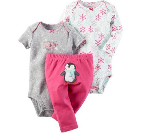 NWT Carter/'s Infant Girl Applique 3-Piece Bodysuit /& Pants Sets Newborn-24 Month