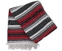 Handmade Mexican Blanket Falsa Yoga Picnic Throw 58 X 74-traditional Colors