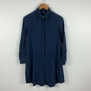 Uniqlo-Womens-Smock-Dress-Size-XS-Extra-Small-Navy-Blue-Long-Sleeve-100-Silk