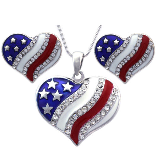4th of July USA American Patriotic Flag Heart Pendant Necklace Earrings Set