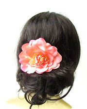 Large Peach Pink Dahlia Flower Hair Comb Bridesmaid Big Rose Rockabilly 1731