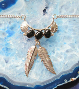 Necklace-925-Sterling-Silver-Onyx-Black-Leaf-2-Springs-Native-American-Style