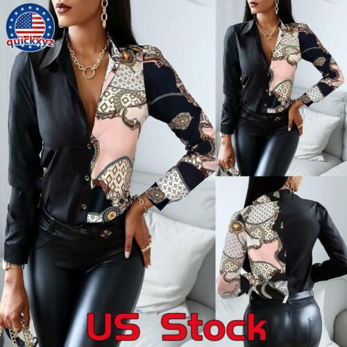 Women Lapel Button T-Shirt Collar Office Tops Shirts Ladies Printed Blouse Shirt