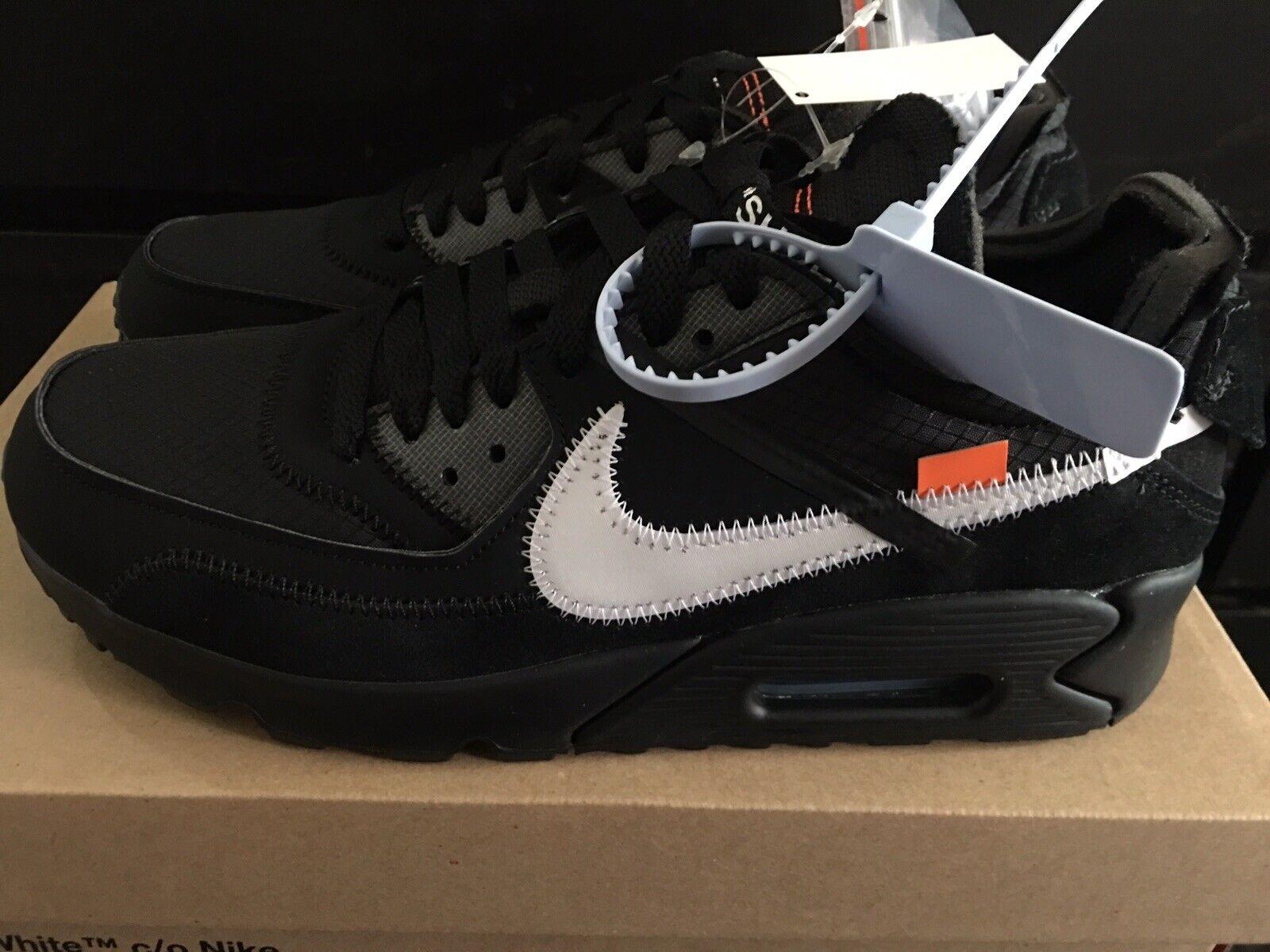 Off-White x Nike Air Max 90 Black   Black-Cone-White AA7293-001 Size 7.5