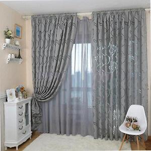 Cn _ Estampa Hoja Ventana Fino Cortina para Dormitorio Cuarto de Estar 100x270cm