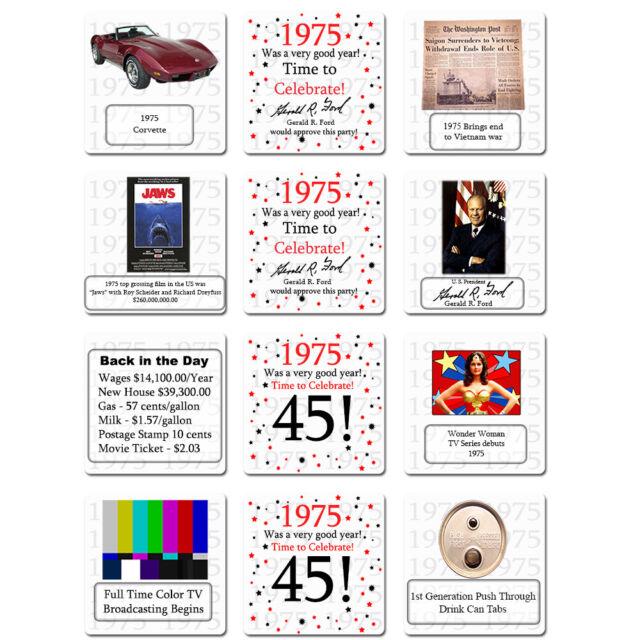"DRINK COASTERS // DECOR Happy 45th Birthday 12 Age 45 /""1975/"" Party Supplies"