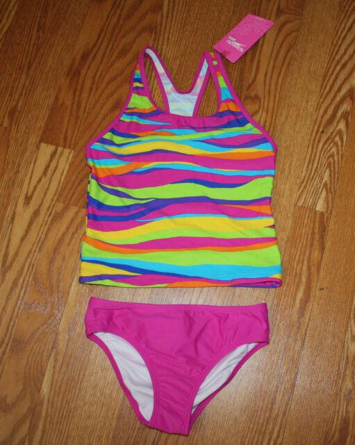 5e769d6fa92bc Girls Speedo 2 Piece Racerback Tankini Set Swimsuit Bathing Suit Size 14