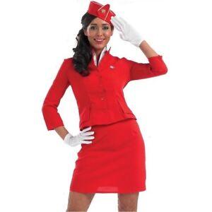 3782aae161e Details about Red Air Hostess Stewardess Flight Attendant Costume
