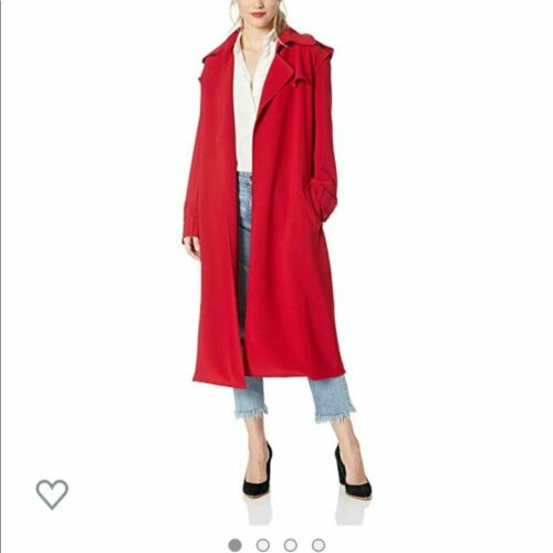 Norma Kamali Double Breasted Trench Coat Red S
