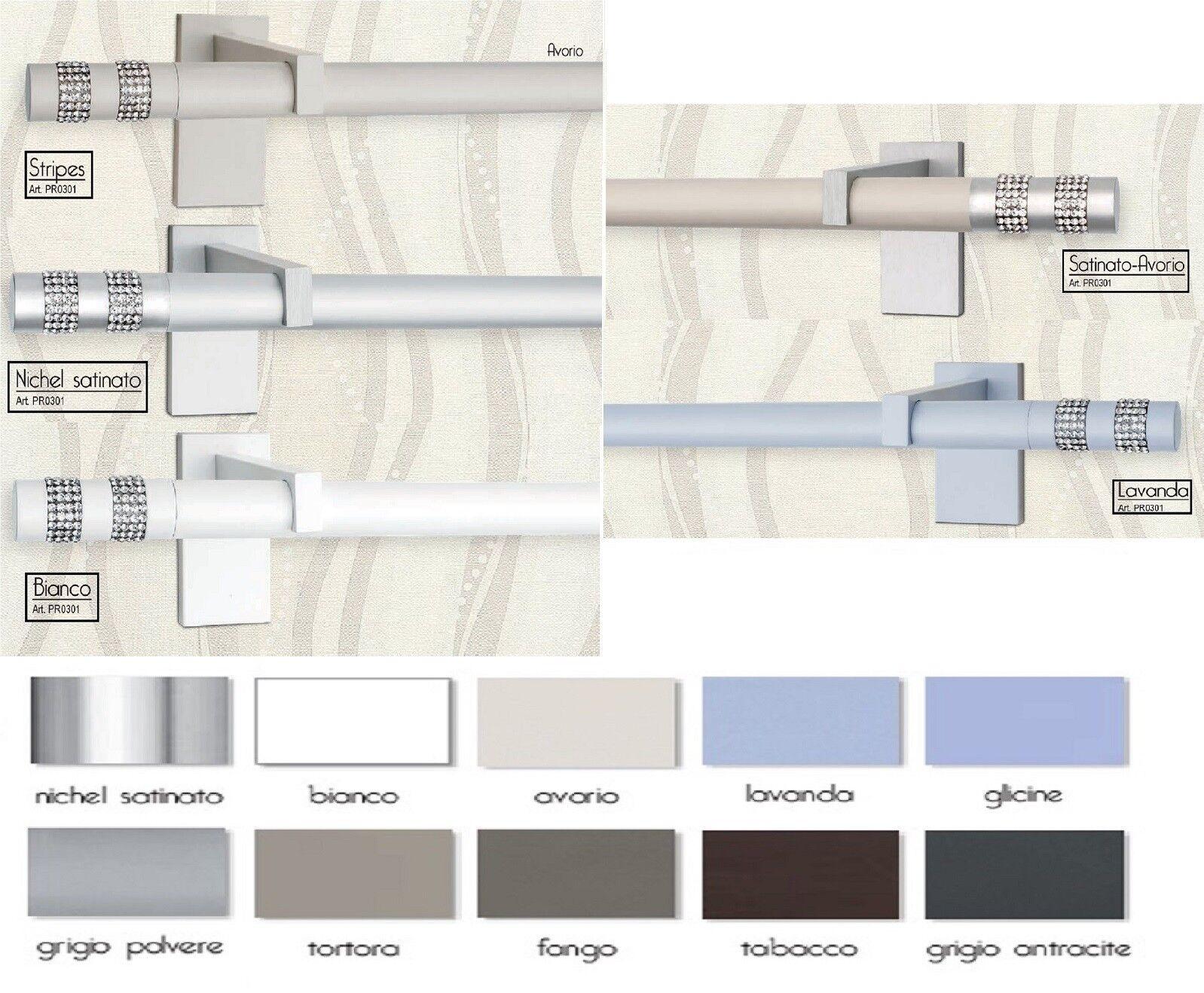Bastone moderno in nichel Ø 20 mm per Tenda. LINEA ORION - STRIPES 160 a 360 cm